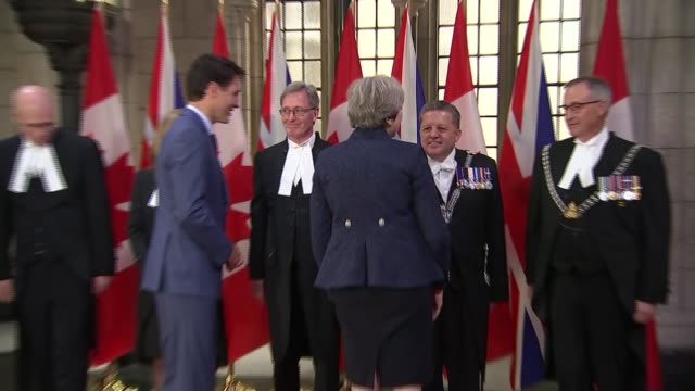 theresa may and justin trudeau bilateral meeting canada ontario ottawa parliament hill int canadian politicians including geoff regan and george... - house of commons stock videos & royalty-free footage