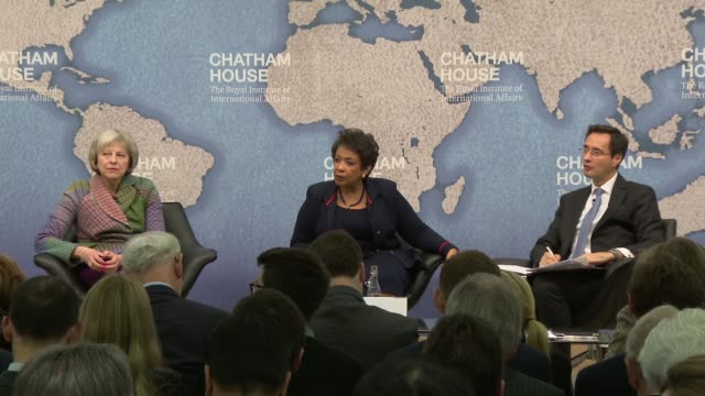 theresa may and loretta lynch 'countering terrorism' event; theresa may responds to question sot - re ideology and communities loretta lynch responds... - fifa stock videos & royalty-free footage