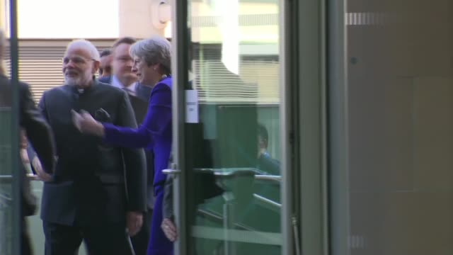 theresa may and narendra modi visit francis crick institute england london king's cross francis crick institute int staff lining walkways at the... - francis crick stock videos & royalty-free footage