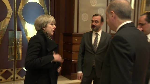 Theresa May arrives for talks with President Erdogan INT Theresa May MP greeting Recep Tayyip Erdogan and along for photocall