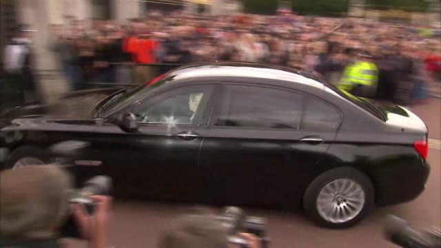 Theresa May arriving at Buckingham Palace to meet with the Queen as she becomes Prime Minister