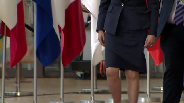 theresa may arriving at the eu summit in brussels - theresa may stock videos & royalty-free footage