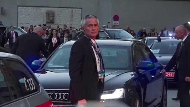 Theresa May arriving at the Salzburg EU summit