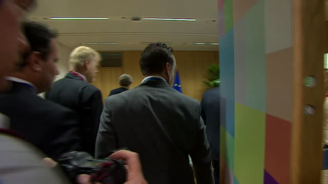 Theresa May arriving for her first EU Summit meeting since the general election