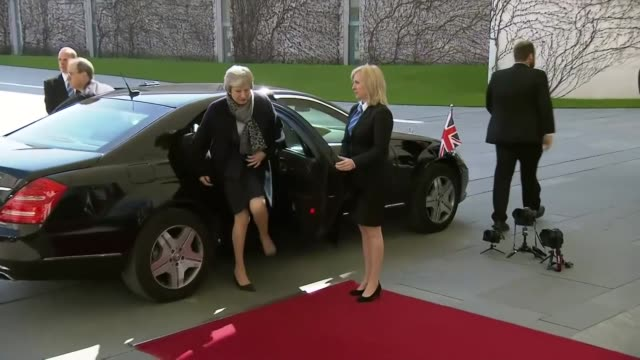 theresa may arriving in berlin for talks with angela merkel - chancellor of germany stock videos & royalty-free footage