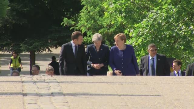 Breakfast meeting BULGARIA Sofia PHOTOGRAPHY*** Theresa May MP Emmanuel Macron and Angela Merkel posing for photocall and sitting for breakfast...