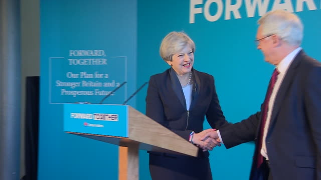 Theresa May at the launch of the Conservative party manifesto