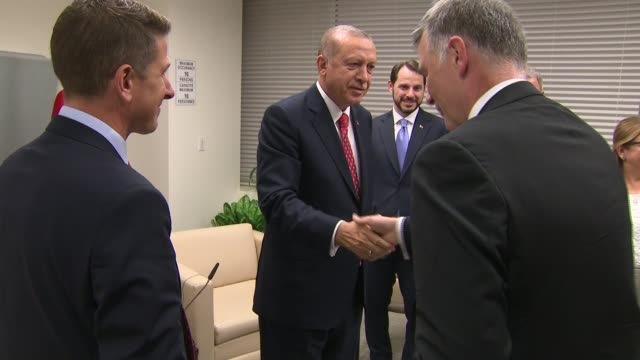 bilateral meeting with President Erdogan of Turkey USA New York United Nations INT GVs Theresa May MP into room for bilateral meeting with Recep...