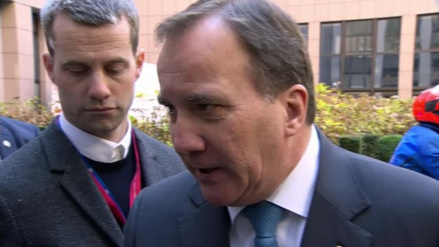 Theresa May attends Brussels summit Stefan Lofven from car as arriving at summit/ Stefan Lofven speaking to press SOT [could a trade deal be done...