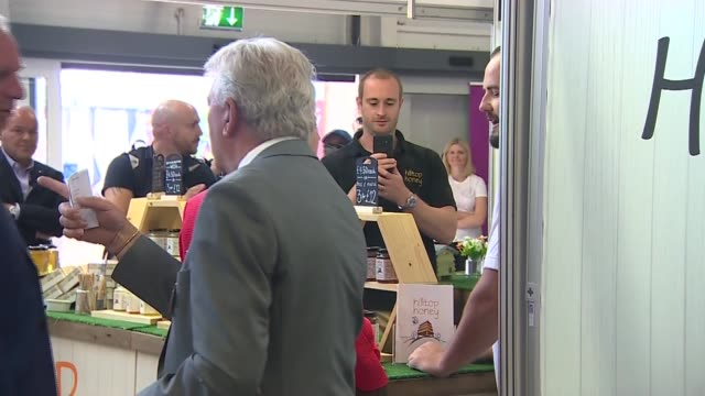 theresa may attends royal welsh show wales powys llanelwedd ext theresa may mp arriving may looking around stalls chatting with people - powys stock videos & royalty-free footage