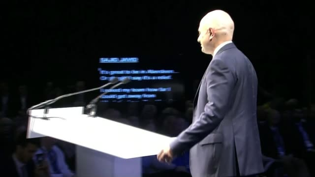 theresa may attends scottish conservative party conference after english local election losses scotland aberdeen int sajid javid mp along to podium... - sajid javid stock videos & royalty-free footage