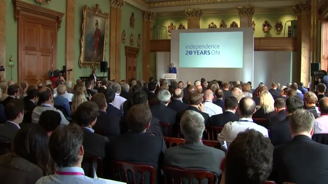 cutaways ENGLAND London Bank of England INT Various cutaways of Mark Carney and Theresa May MP speeches and QA session at event to mark 20th...