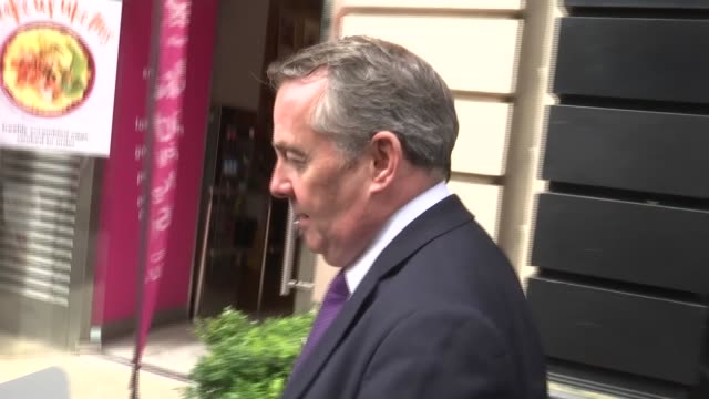 philip hammond and liam fox doorstep interviews liam fox mp out of building and along street - liam fox politician stock videos and b-roll footage