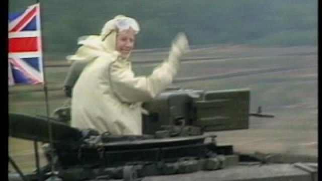 women in westminster 1981986 / 138576 germany margaret thatcher along on military tank during visit to nato military exercises - armored tank stock videos & royalty-free footage