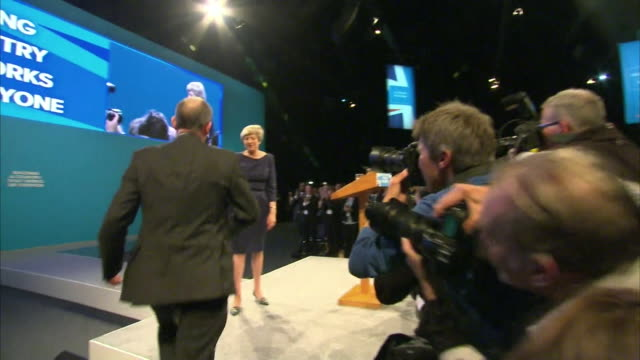 Theresa May being cheered at the end of her speech at the Conservative Party conference