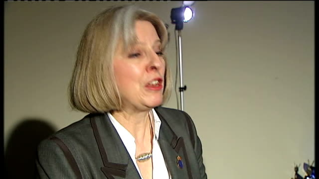 theresa may booed at police federation annual conference bournemouth int theresa may mp interview sot the only people who are responsible for crime... - peacetime stock videos and b-roll footage
