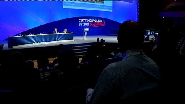 theresa may booed at police federation annual conference england dorset bournemouth police federation conference int theresa may mp sitting at... - 2012 stock videos and b-roll footage