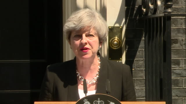 theresa may calling the finsbury park terror attack every bit as sickening as those which have come before - innocenza video stock e b–roll