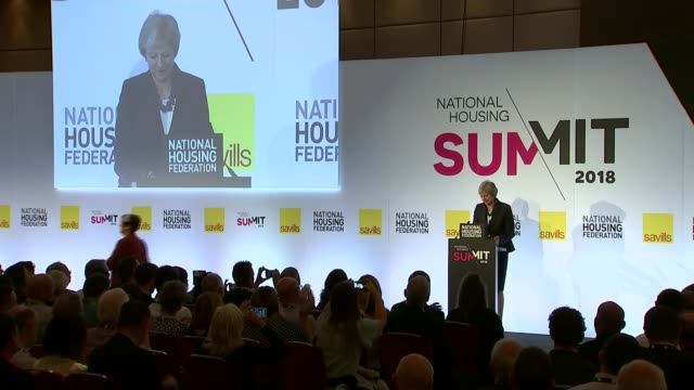 Theresa May calls for end to 'stigma' of social housing in speech London UK Theresa May arrival speech on housing cutaways London INT Theresa May MP...