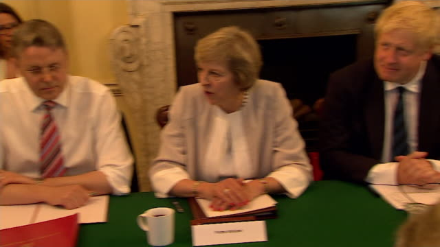 Theresa May chairing a meeting of her Cabinet
