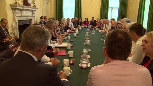 theresa may chairs first meeting of new cabinet following general election england london downing street shot into room / various shots of theresa... - priti patel stock-videos und b-roll-filmmaterial