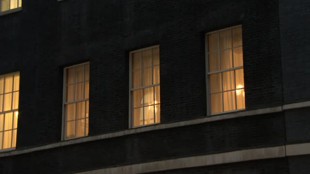 Theresa May completes cabinet reshuffle Downing Street General view of Number 10 at night Lights in windows Exterior of Number 10 ZOOM IN lights in...