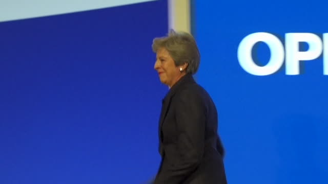 theresa may dancing to abba's 'dancing queen' before her speech at the conservative party conference - theresa may stock videos & royalty-free footage