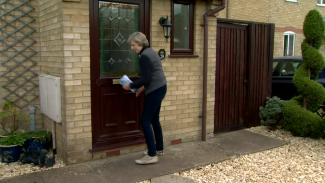 theresa may defends child sex abuse inquiry; england: oxfordshire: ext theresa may mp , david cameron mp and robert courts along campaigning may... - letterbox stock-videos und b-roll-filmmaterial