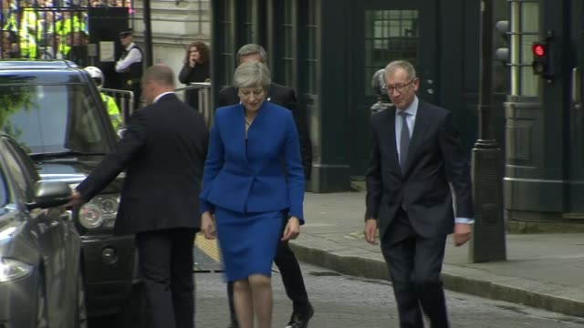 Theresa May defends government handling of NHS / Cabinet reshuffle speculation 962017 / R090617041 EXT Theresa May MP from car and to podium in...