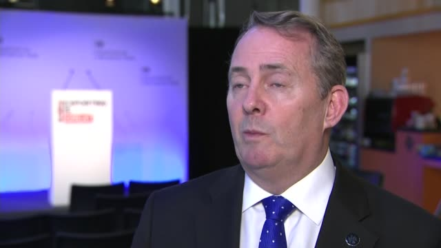 theresa may defends her position as prime minister england bristol int liam fox mp interview sot - liam fox politician stock videos and b-roll footage