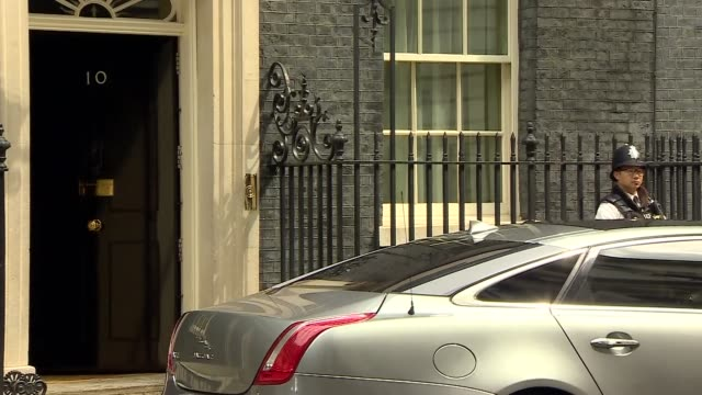 theresa may departs downing street for prime minister's questions; england: london: downing street: ext theresa may mp from number 10 to car and away - prime minister stock videos & royalty-free footage