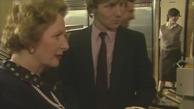 theresa may faces loss of barnet council to labour in local elections lib / int margaret thatcher inspecting burger at mcdonalds thatcher along - finchley stock videos and b-roll footage