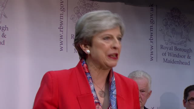 theresa may gives her speech after retaining her seat in the constituency of maidenhead in the general election - election stock videos & royalty-free footage