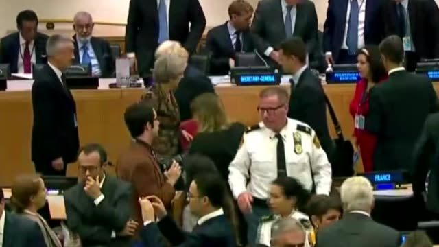 theresa may gives maiden speech to un general assembly; usa: new york: united nations: int wide shot of theresa may mp and boris johnson mp chatting... - united nations general assembly stock videos & royalty-free footage