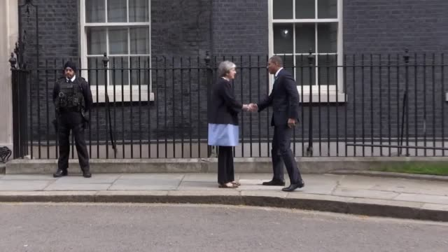 theresa may greets prime minister of jamaica andrew holness at 10 downing street as part of the commonwealth heads of government meeting in london - 10 downing street stock videos and b-roll footage