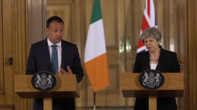 theresa may has insisted a proposed deal with northern ireland's democratic unionists to prop up her minority government will not be allowed to... - leo varadkar stock videos and b-roll footage