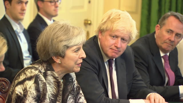 Theresa May holding her first cabinet meeting since the general election