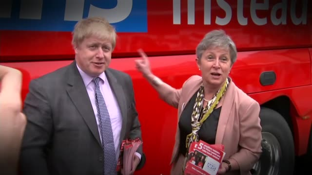 theresa may insists government is driven from the front over brexit lib / cornwall truro ext boris johnson and gisela stuart mp with 'vote leave' bus - boris johnson stock-videos und b-roll-filmmaterial