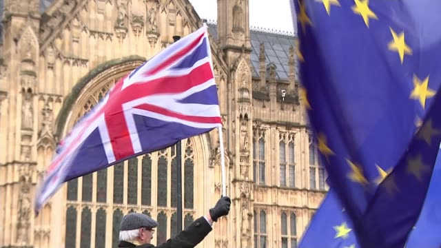 Theresa May insists her government is still on course to deliver Brexit Westminster EXT Various shots antiBrexit protesters with EU flags outside...