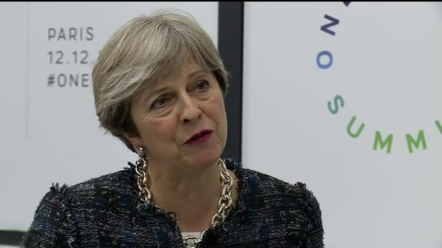 Paris INT Theresa May MP interview SOT re Climate change Tackling climate change is one of the great challenges that we face but also mitigating the...