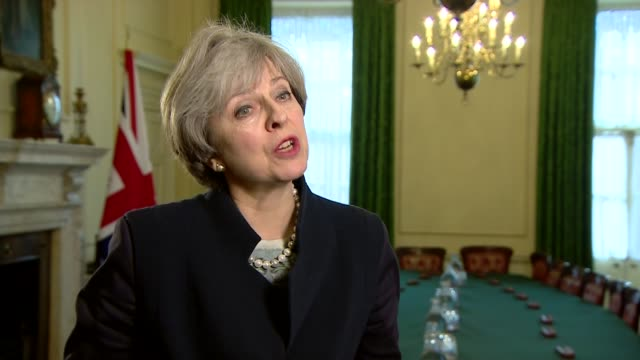 theresa may interview on possibility of second scottish independence referendum; england: london: downing street: int theresa may mp interview sot -... - politics and government stock videos & royalty-free footage