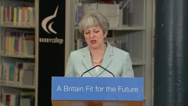 Theresa May launches review into 'expensive' university fees Derby Derby College INT Theresa May MP speech SOT the competitive market between...