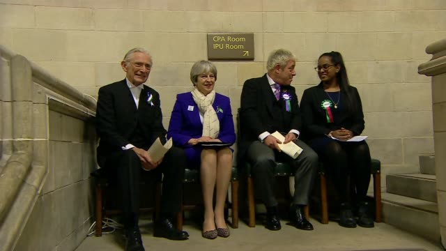 theresa may launches 'vote 100' campaign in westminster hall cutaways theresa may mp arriving with john bercow mp lord fowler and others / theresa... - andrea leadsom stock-videos und b-roll-filmmaterial
