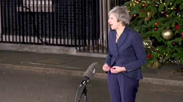 theresa may makes a speech in downing street after winning a confidence vote in her leadership she said a brexit which brings the country back... - theresa may stock videos & royalty-free footage