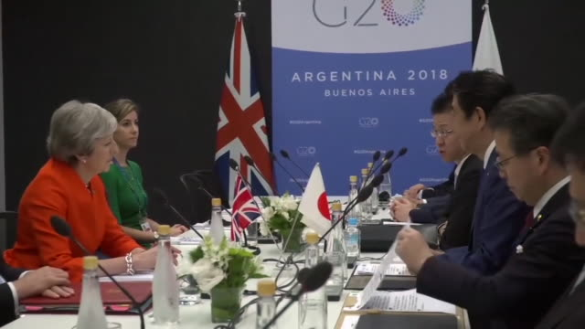 Theresa May meeting Japanese Prime Minister Shinzo Abe at G20 Summit in Buenos Aires