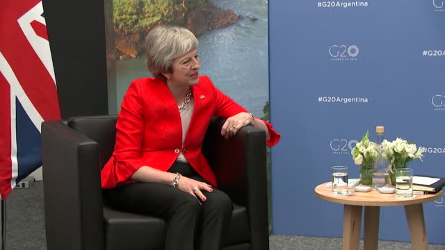 theresa may meeting with australian prime minister scott morrison at g20 summit in bienos aires - フィリップ ハモンド点の映像素材/bロール