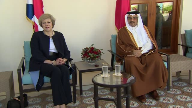 Theresa May meets Crown Prince Salman BAHRAIN EXT Theresa May MP and Prince Salman bin Hamad bin Isa Al Khalifa seated at meeting