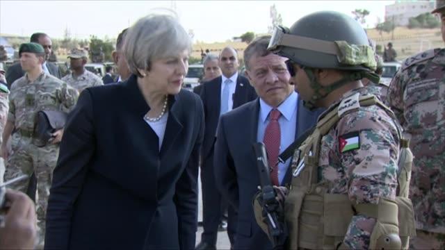 Amman INT Theresa May MP along and meeting King Abdullah II of Jordan May along with King Abdullah II / May meeting armed forces / May meeting...