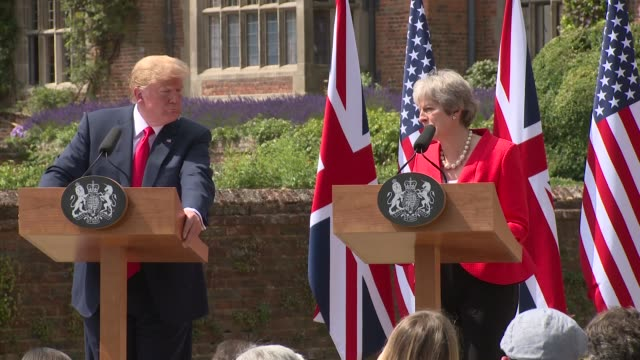 theresa may on brexit plans and president donald trump's admiration for boris johnson on july 13 2018 in aylesbury england - admiration stock videos & royalty-free footage