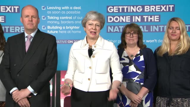 theresa may opening the conservative party's eu election campaign by saying we didn't want to fight these elections and if parliament had backed our... - leadership stock videos & royalty-free footage